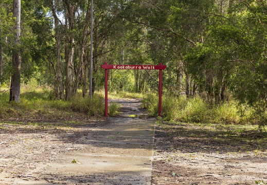 Entrance to Kookaburra Walk viewed from Log of Knowledge Park in Kurri Kurri