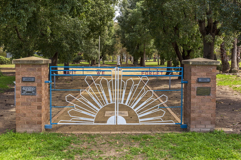 ANZAC Grove memorial gate at ANZAC Park in Gundagai