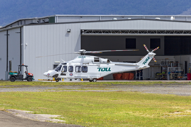 Helicorp (VH-TJK) Leonardo-Finmeccanica AW139 at the Toll Ambulance Rescue Helicopter Service base at Illawarra Regional Airport